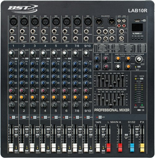 Mixer audio profesional BST LAB10R, 10 canale, Phantom 48V