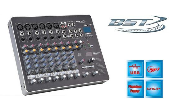 Mixer audio profesional BST LAB8DSP, 8 canale, Phantom 48V